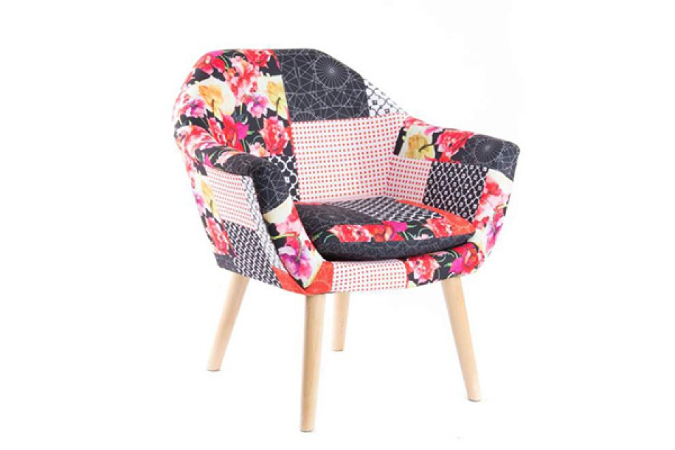 Fotelja drvo patchwork 70 x 65 x 76