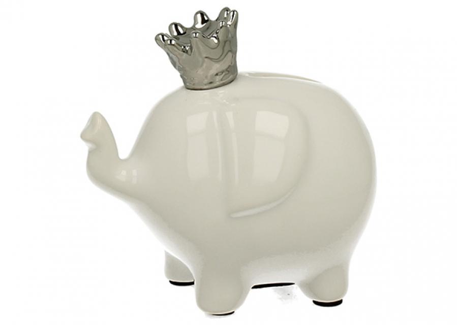 Kasica slonić sa srebrnom krunom 12,2 X 16 X 9