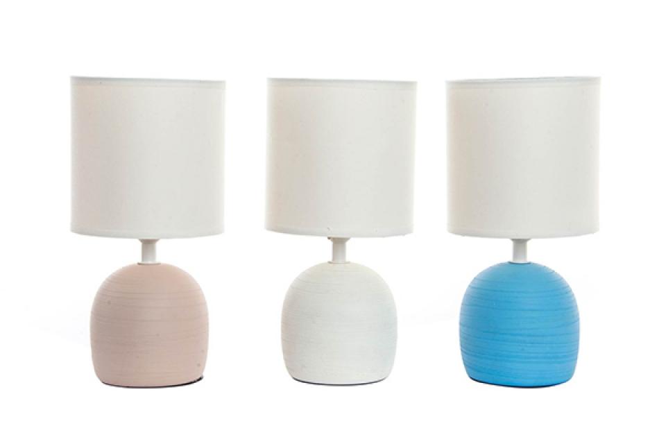 Keramička lampa sa belim abažurom 13x26 e14 3 boje
