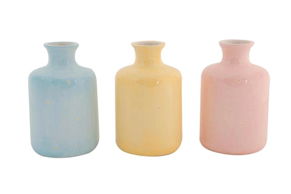 Keramička vaza sa cvetićima  9x9x16,5 3 boje