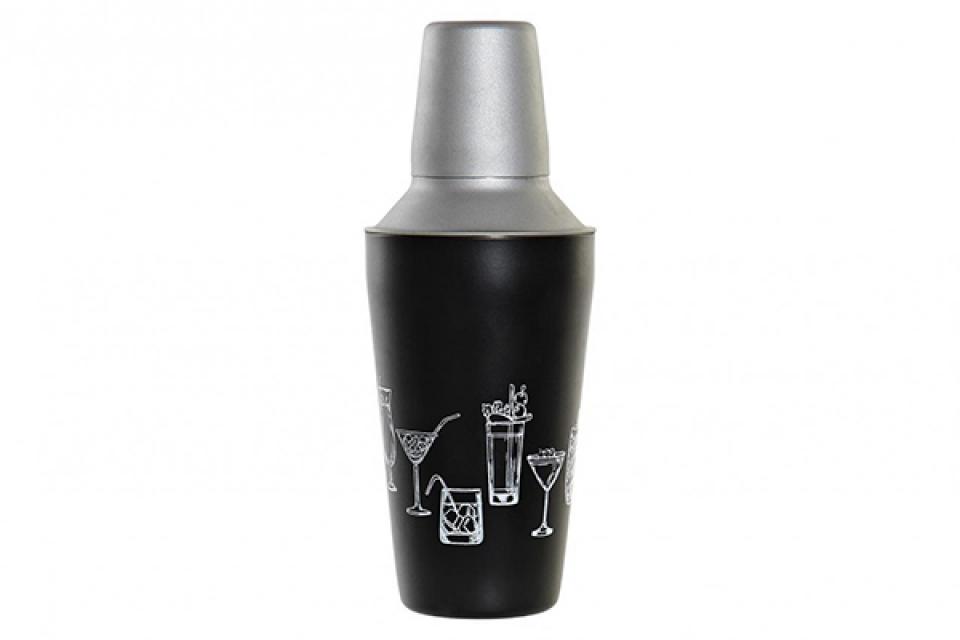 Koktel šejker black 9,5x9,5x22 500 ml