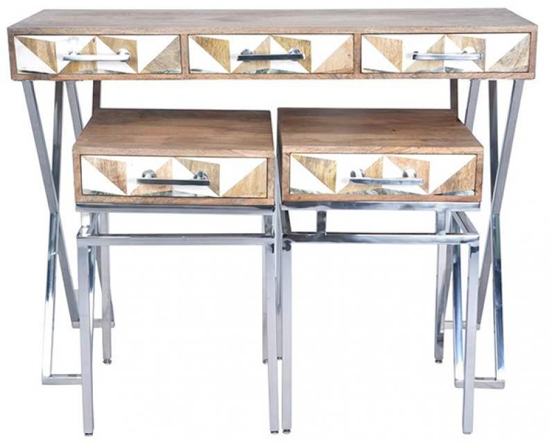 Konzola set / 3 mango drvo 114x46x83