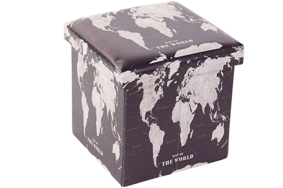 Kutija world map black 34x34x34