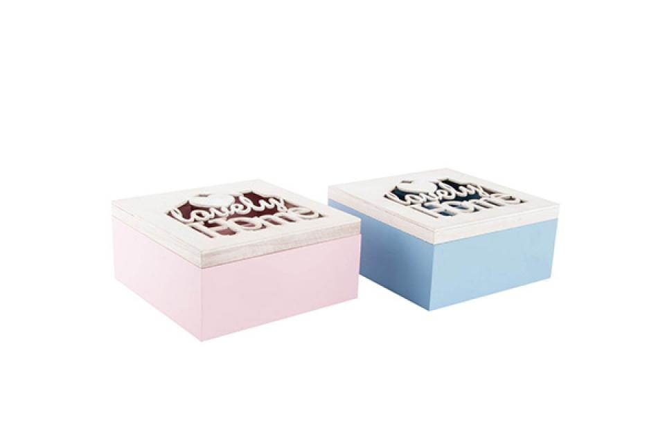 Kutija za čaj drvo srce plava,roze