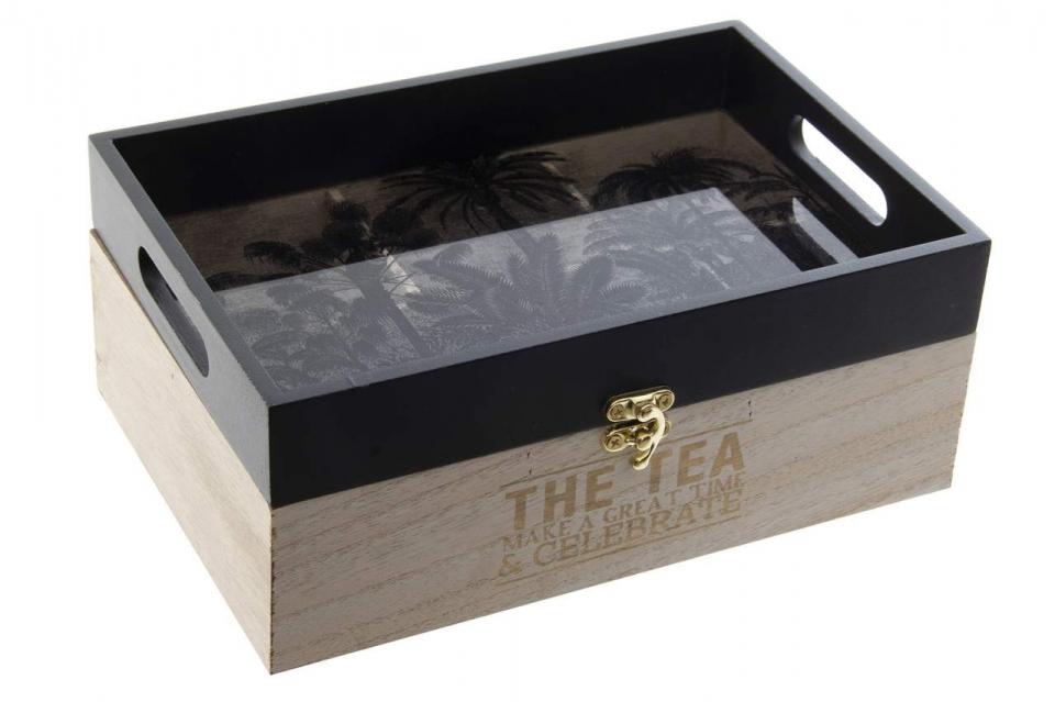 Kutija za čaj sa poslužavnikom tropical black 24x16x10