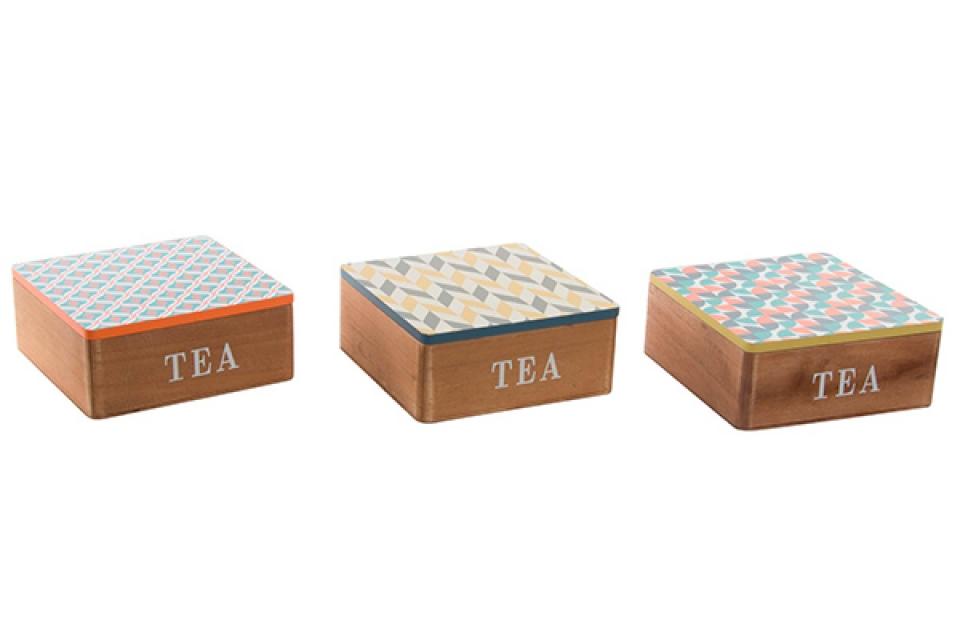Kutija za čaj šare 17x17x7 3 modela