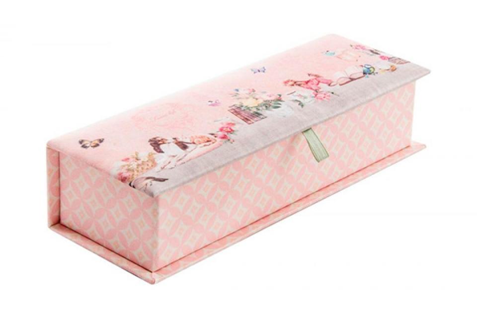 Kutija za nakit sa pregradama i ogledalom roze 23 x 8 x 5.5