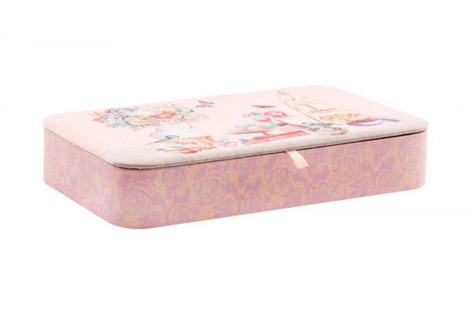 Kutija za nakit sa pregradama i ogledalom roze 25 x 14.5 x 5