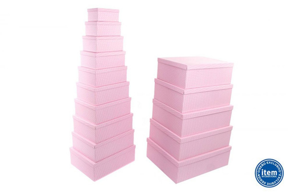 Kutije set 15 57x45x19/19x13x9 pink