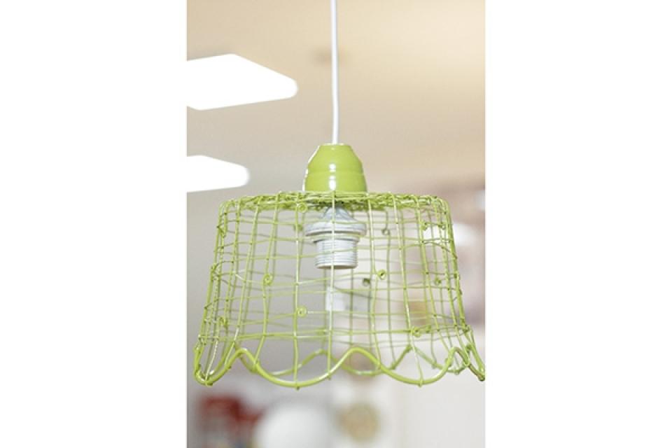 Luster od pletene žice 27.5x20.5x22cm zeleni