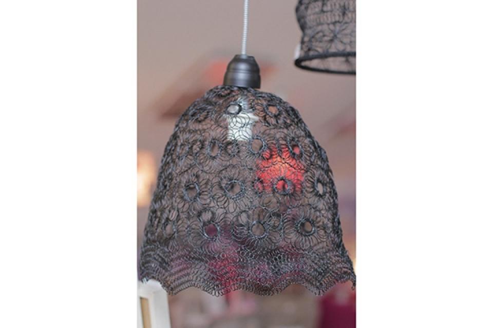 Luster od pletene žice/crni/44x25x40cm