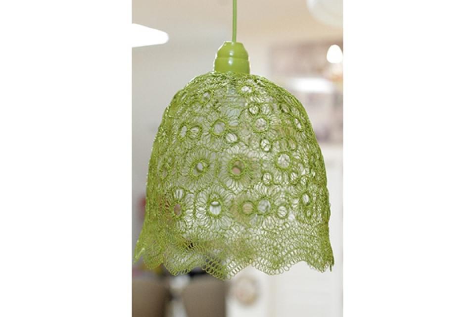 Luster od pletene žice/svetlo zeleni/44x25x40cm