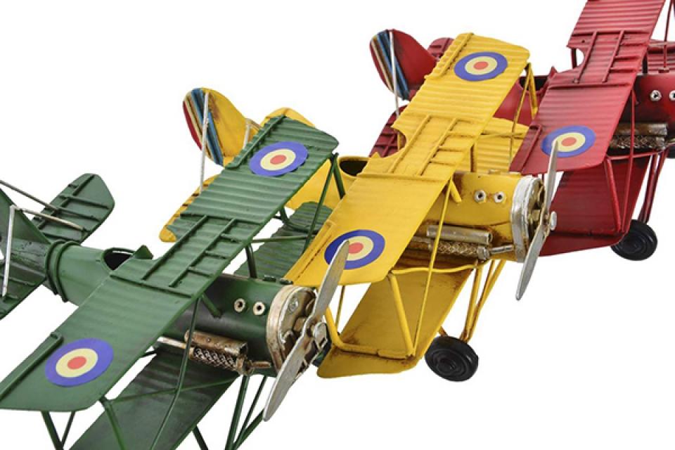 Metalna dekoracija avion 16x15,5x7,5 3 boje