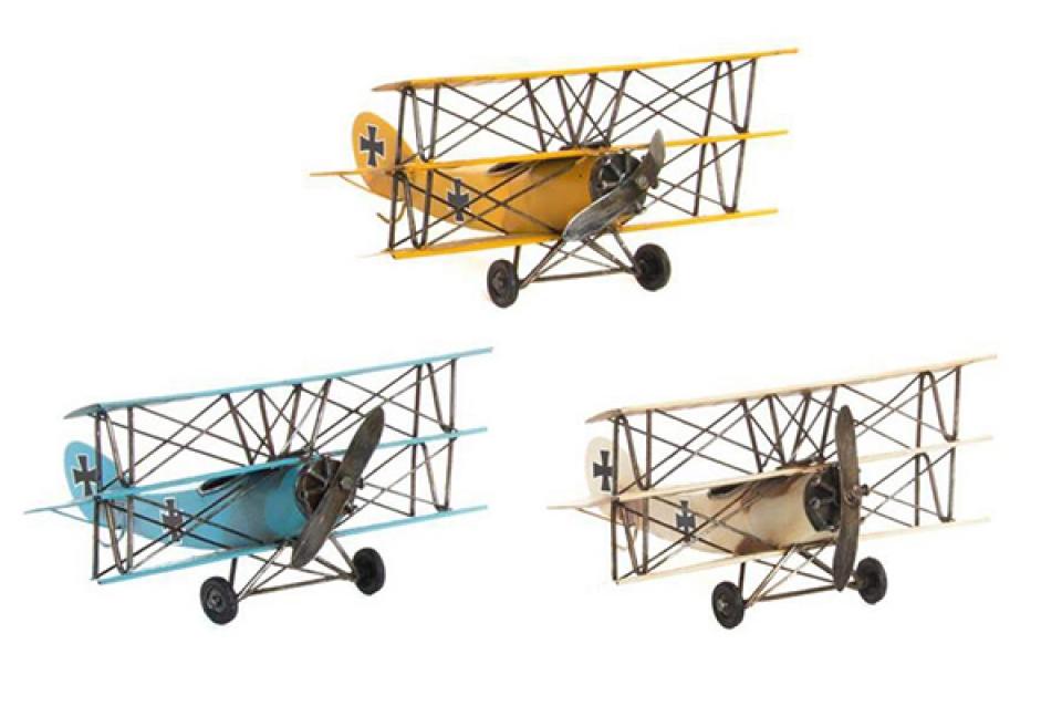 Metalna dekoracija avion 25x25x13 3 boje