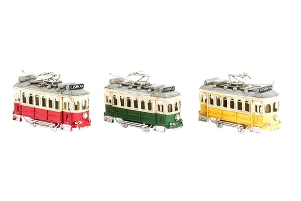 Metalna dekoracija tramvaj 16,5x5x9,5 3 boje