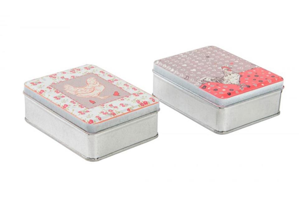 Metalna kutija petao i kokoška 10x8x3 2 modela