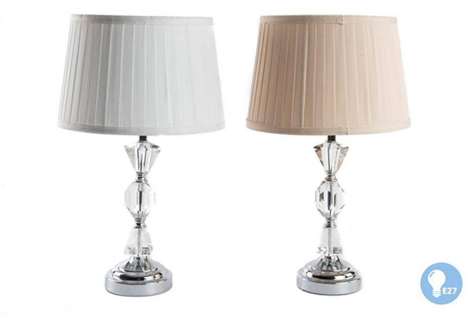 Metalna lampa sa belim i bež abažurom 28x48 e28
