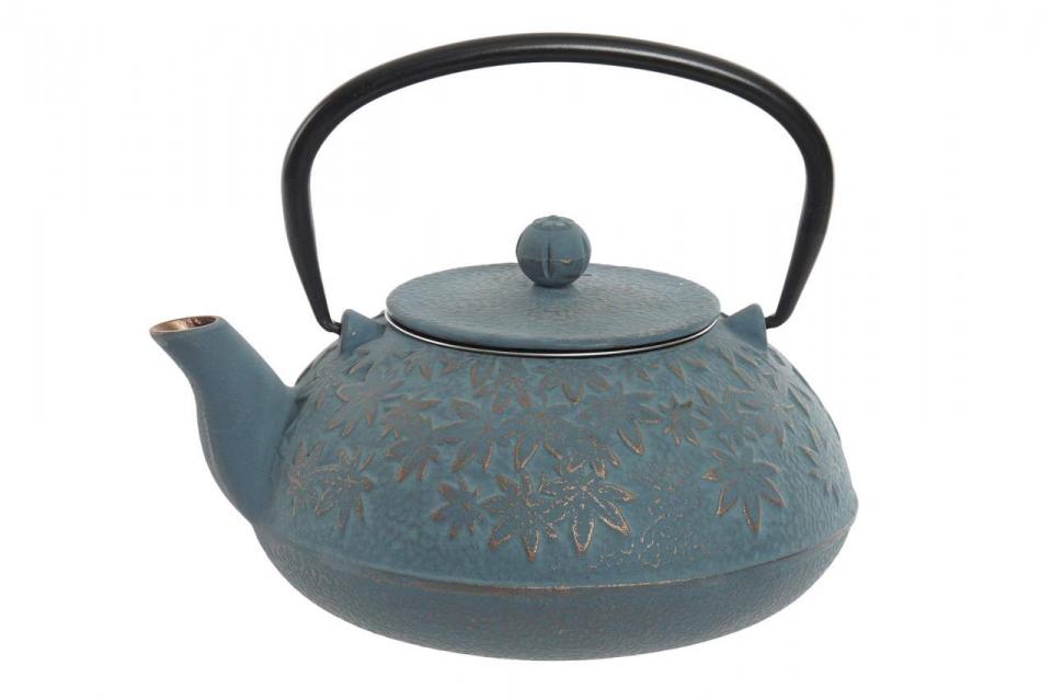 Metalni  čajnik leaves blue 17x15x15,5 1,2l