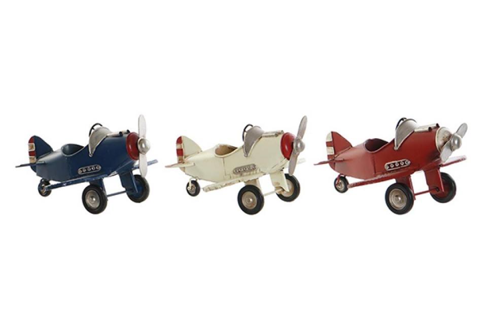 Metalni avion 17,5x18x10 3 boje