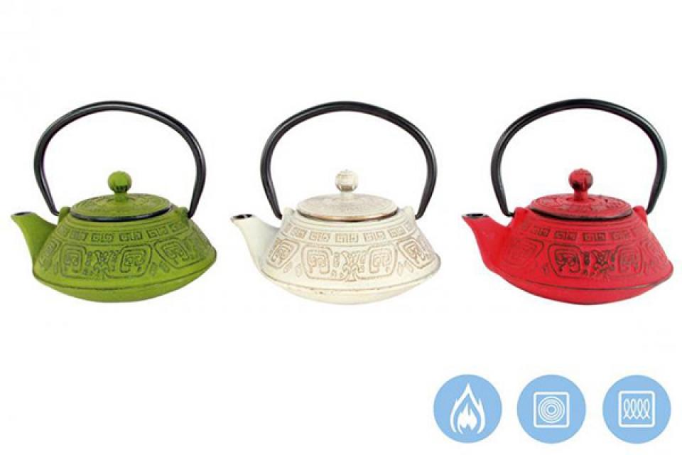 Metalni čajnik u boji 14x13x10 400 ml. 3 modela