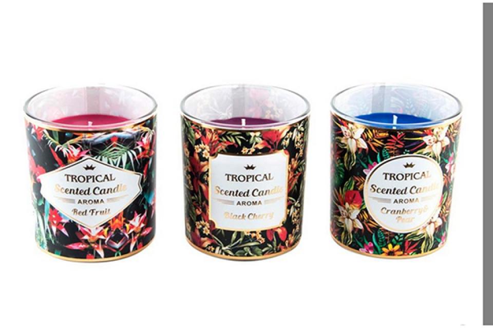 Mirišljava sveća tropic  9x10 584gr 3 mod