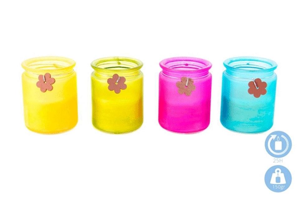 Mirišljava sveća u teglici u boji 8x10 4 boje