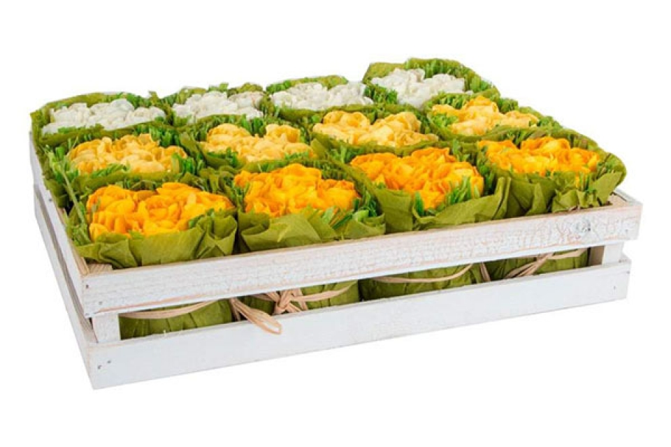 Papirna dekoracija žuto bele ružice 3 boje