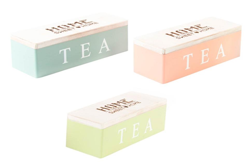 Pastelna kutija za čaj home  24x9x7 3 boje