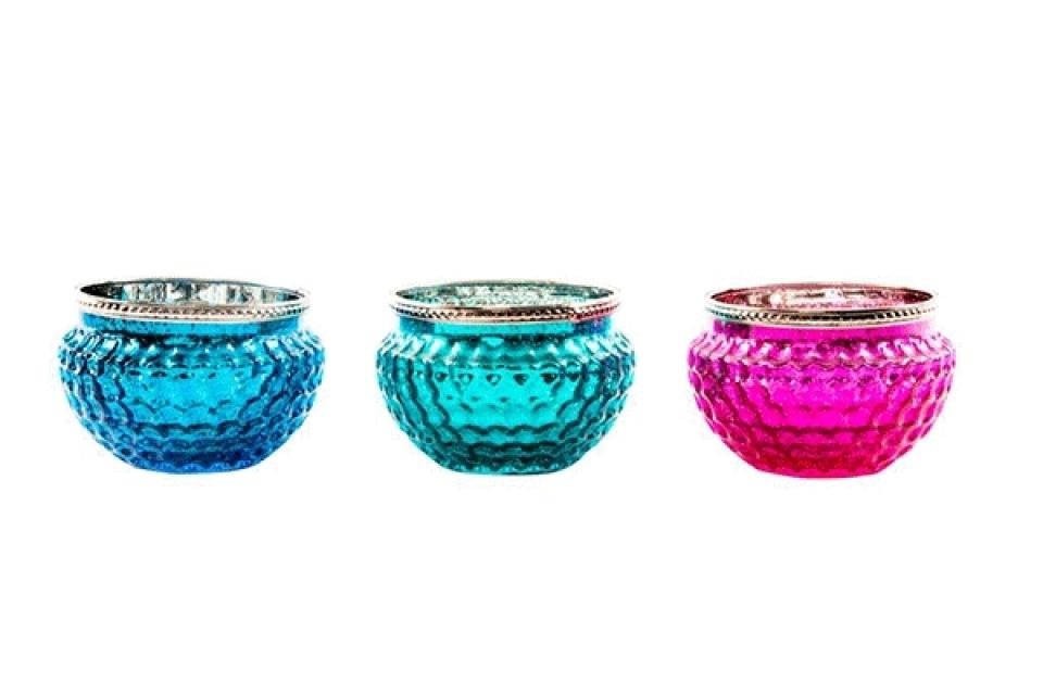 Plavi, zeleni i roze svećnjak 12x8 3 boje
