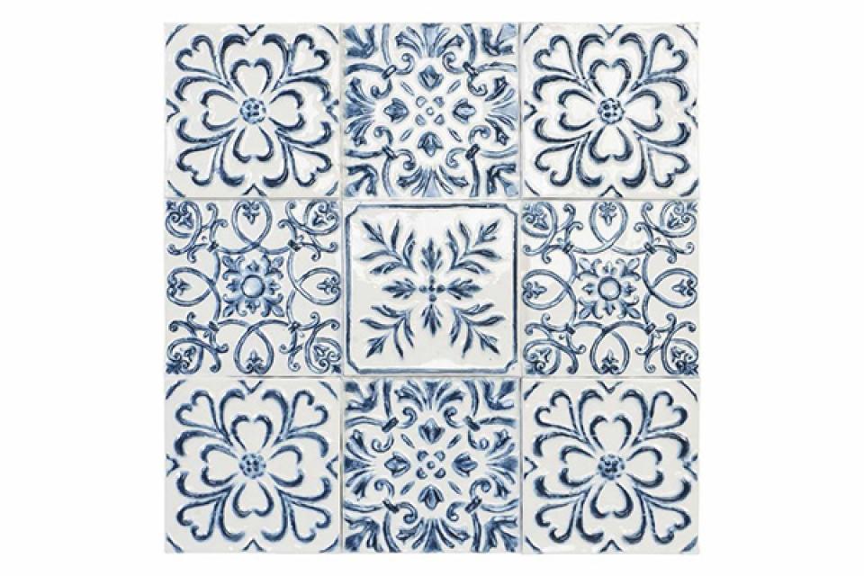 Plavo bela zidna dekoracija 75x3x75