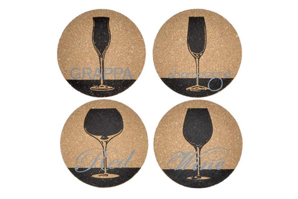 Podmetači za čaše natural black / 4 10x10x0,5