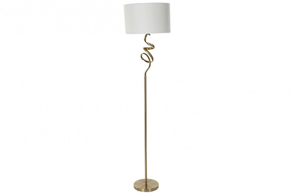 Podna lampa golden sa belim abažurom 40x174