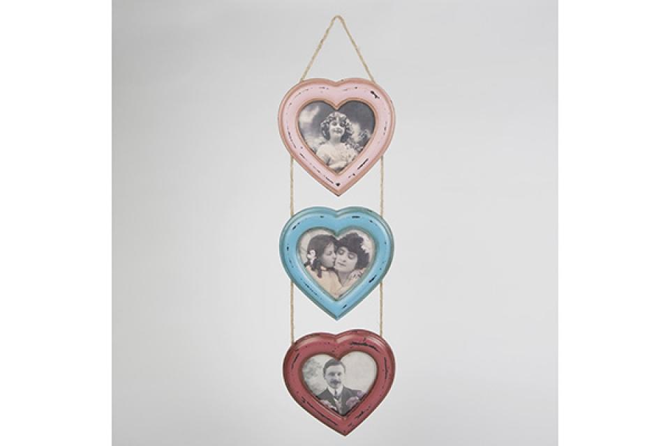 Ram za slike 3/1 viseća srca u tri boje