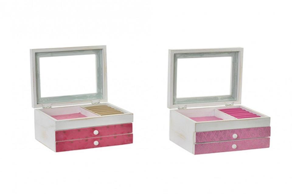Roze bela kutija za nakit 21,5x16,5x11 2 modela