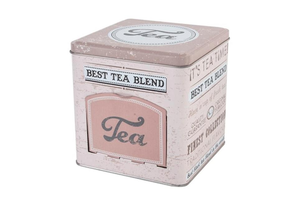 Roze metalna kutija za čaj 13x13x13