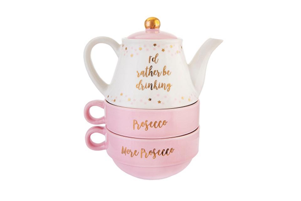 Roze set čajnik sa dve šolje prosseco 14 x 16