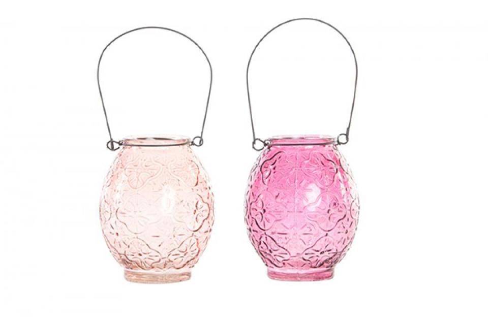 Roze stakleni svećnjak 9,5x13 2 modela