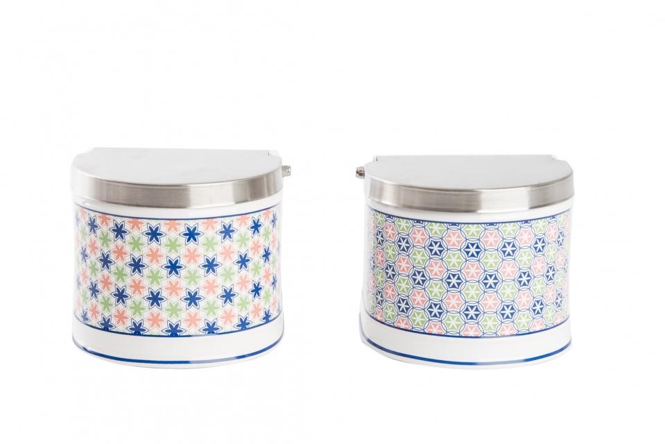Salt cellar ceramic metal 12,5x11,7x10,2 2 mod