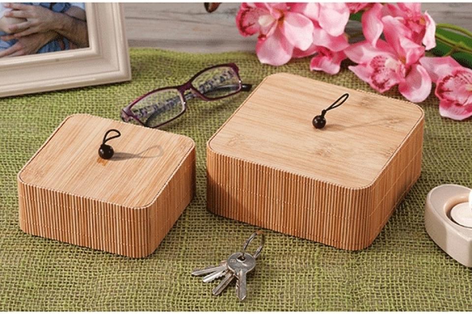 Set četvrtastih kutija bambus / 2 15x15 cm