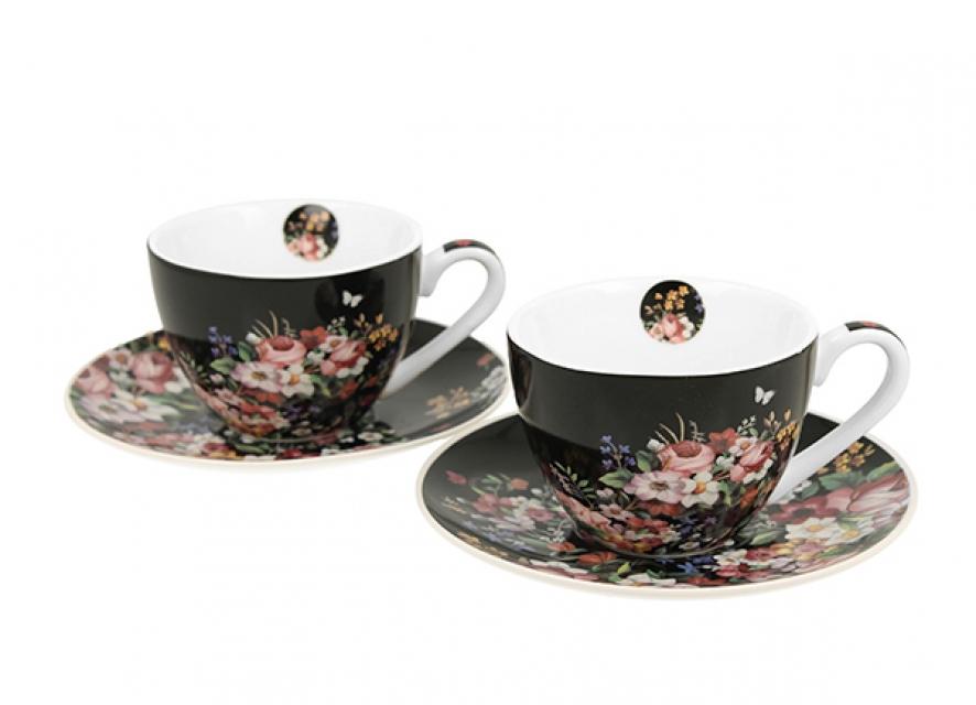 Set espresso šolja vintage flowers -black 90 ml/ 2