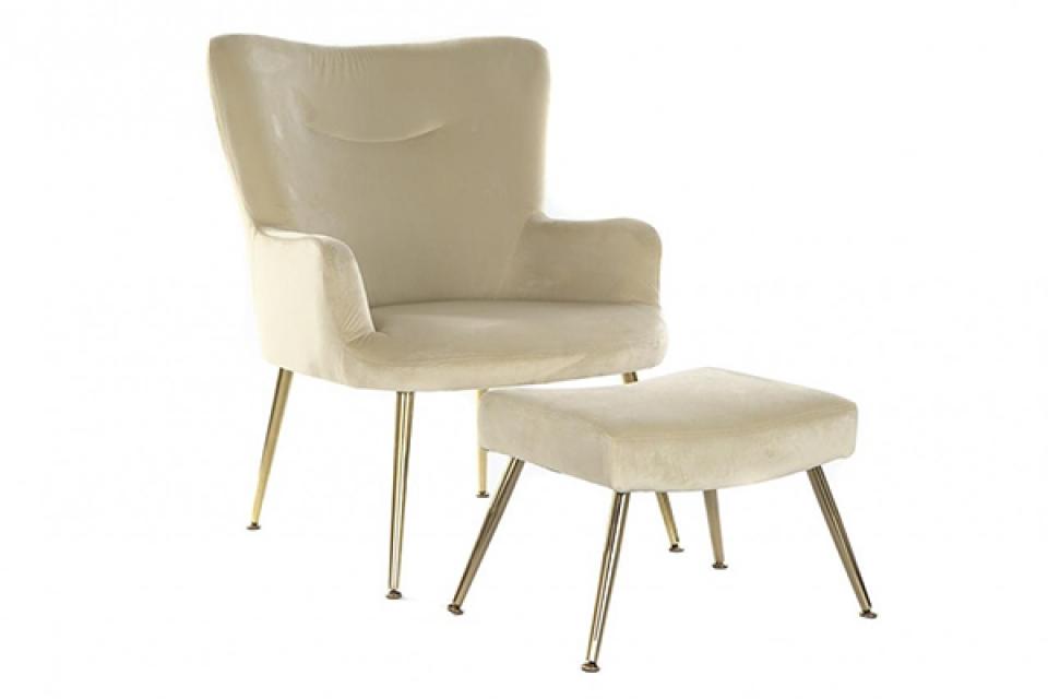 Set fotelja i stolica bež 65x59x85
