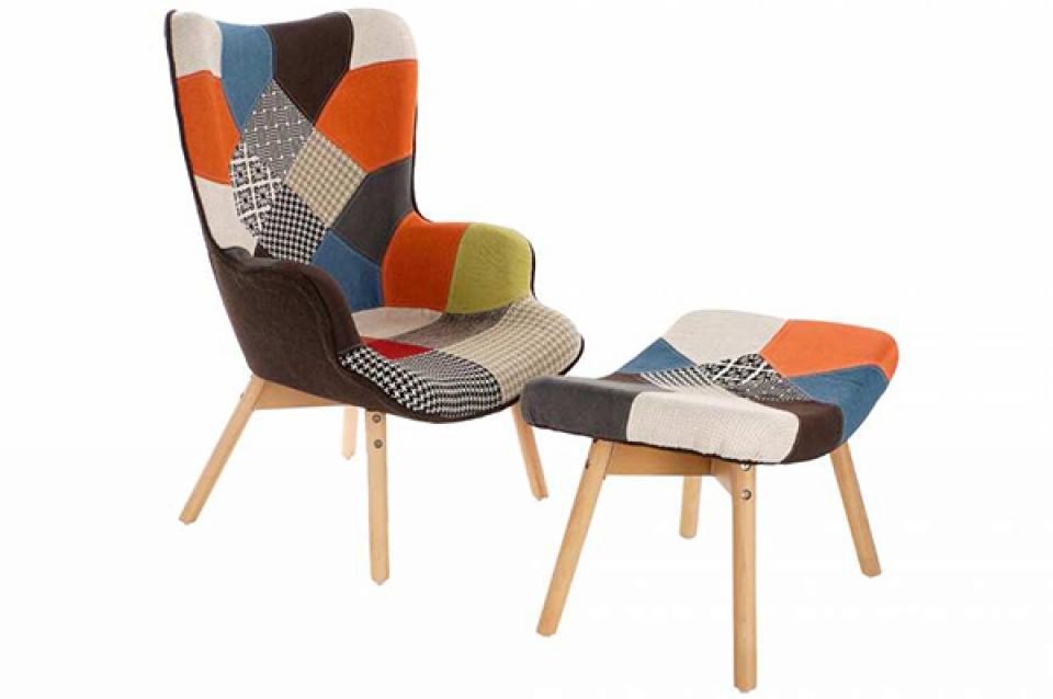 Set fotelja i stolica za noge geometrik / 2 70x62x99