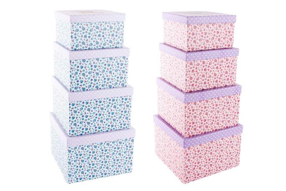 Set kutija sa medo na poklopcu  23x23x16 2 boje