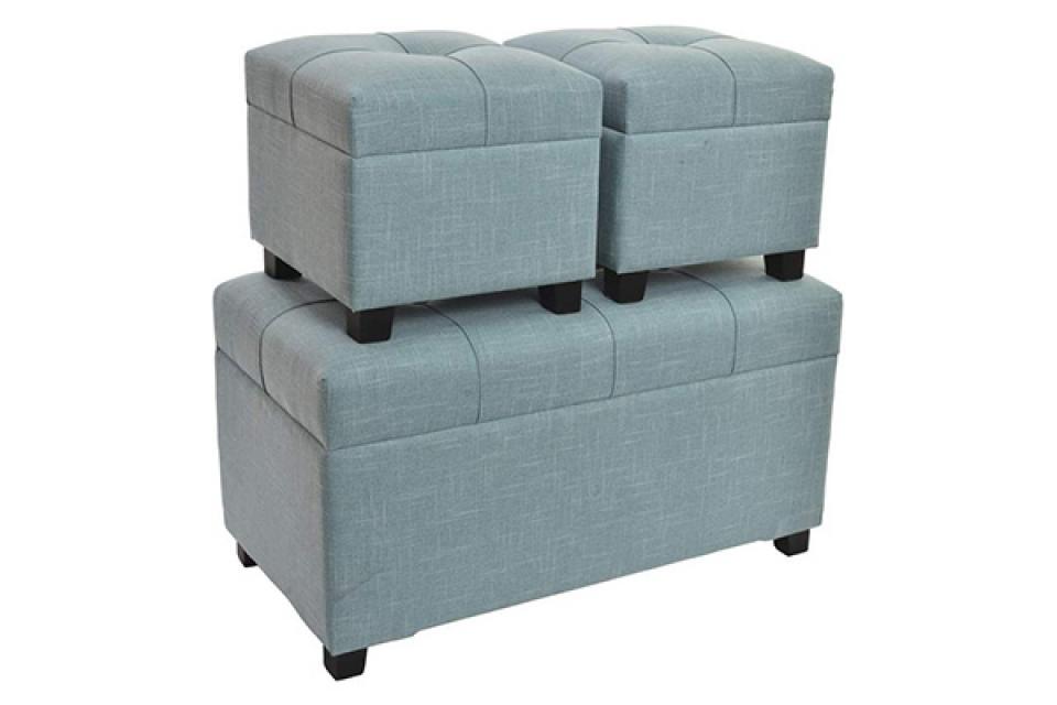 Set plavih taburea / 3 80x40x43