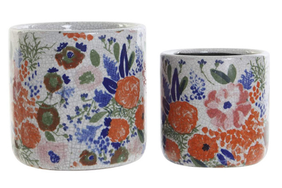 Set saksija floral / 2 15x15x15