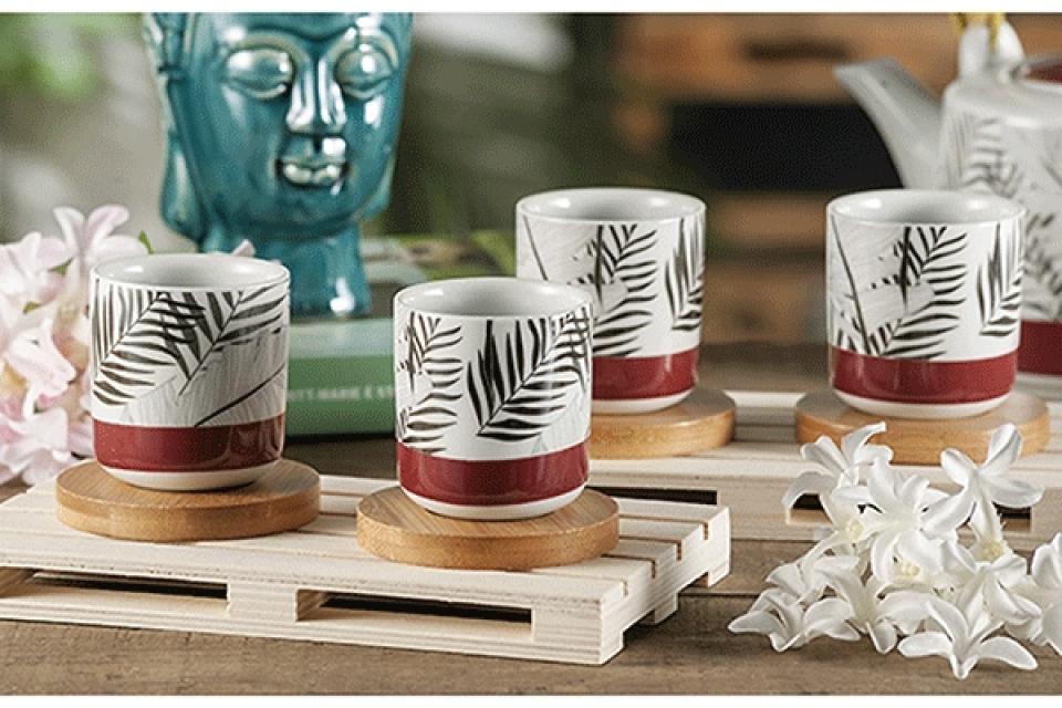 Set šoljica sa bambus motivom / 4 6x6,5 2 modela