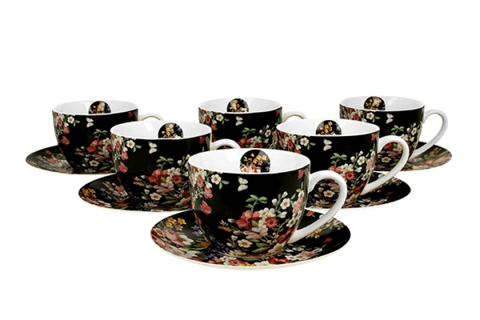 Set šoljica zahra vintage flowers - black / 6 280 ml