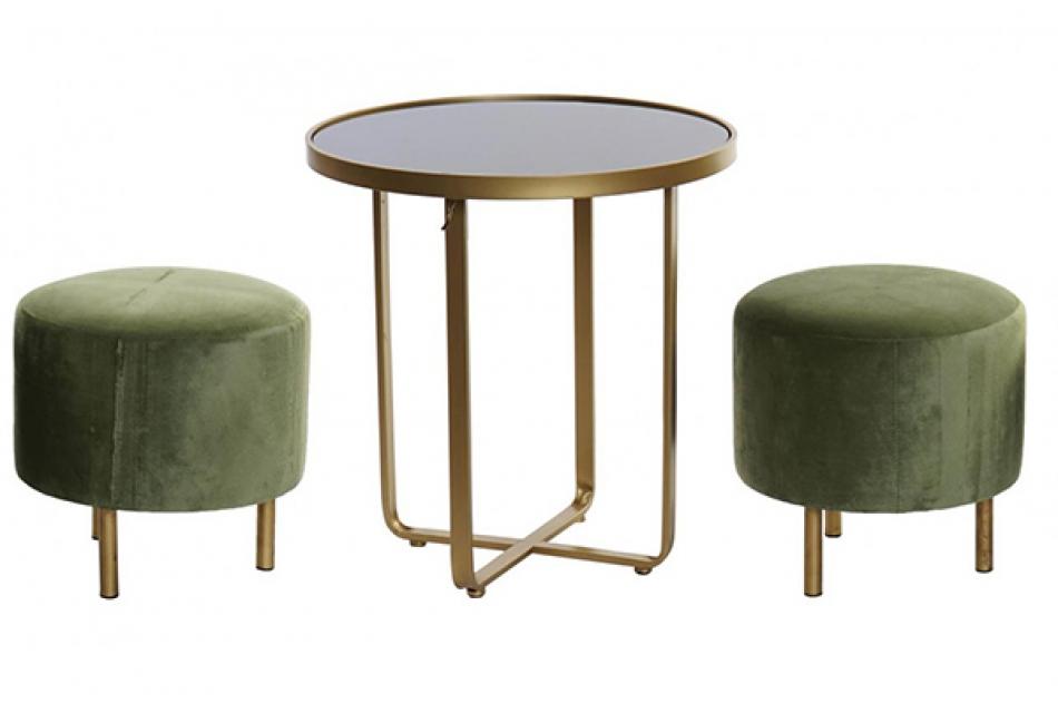 Set sto i dva taburea green / 3  50x50x52,5
