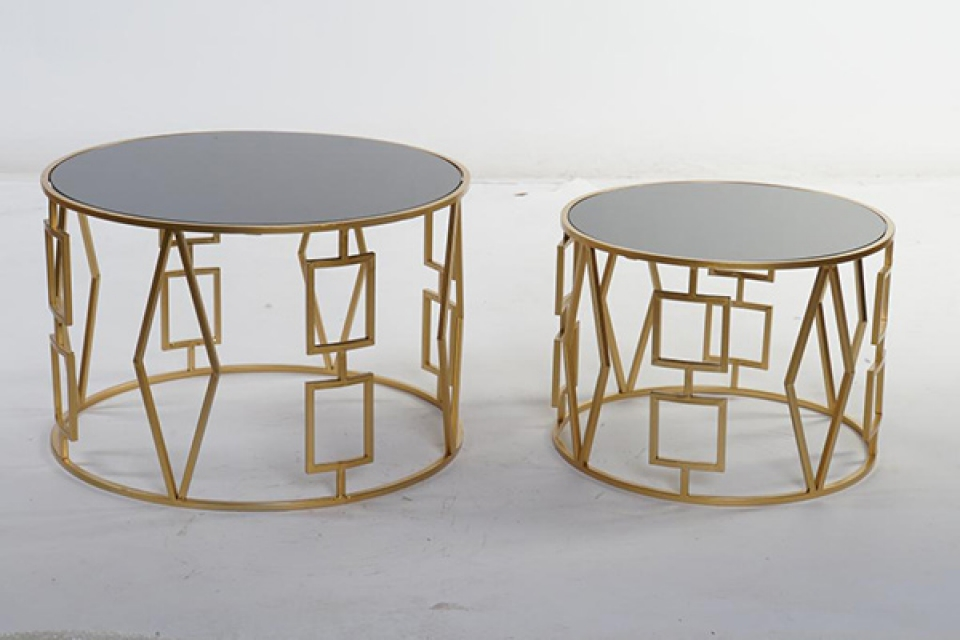 Set stolova golden geometric / 2 61x61x40