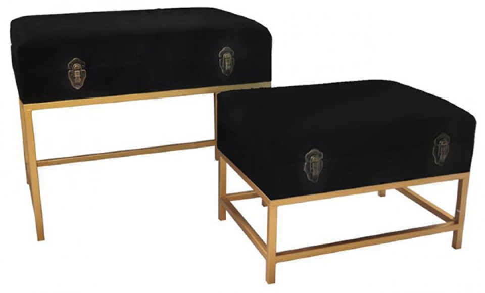 Set taburea sa metalnim nogama black / 2 60x40x46